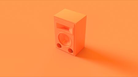Orange  Peach Speaker isolate  3d illustration  3d rendering Banco de Imagens