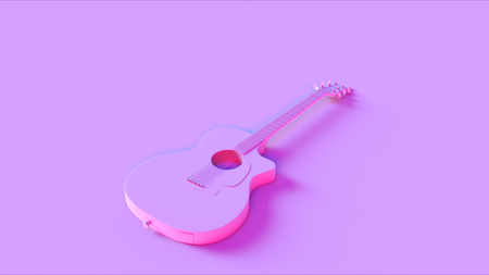 Pink Acoustic Electric Guitar 3d illustration Stock Photo