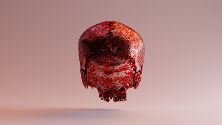 Silver Skull Covered in Blood 3d Illustration 3d Rendering Stock Photo