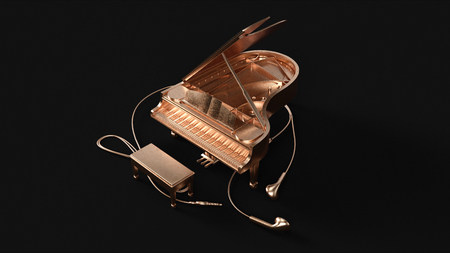 Brass Grand Piano and Ear Buds 3d illustration 3d rendering Stock Photo