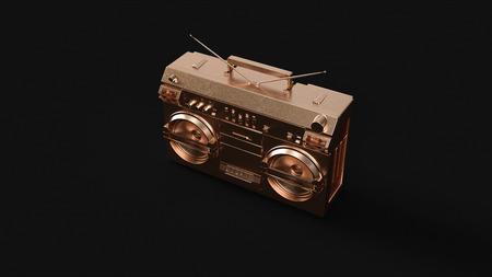 Brass Boombox Stereo 3d illustration 3d rendering
