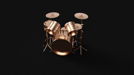 Brass Drum Kit 3d illustration 3d rendering