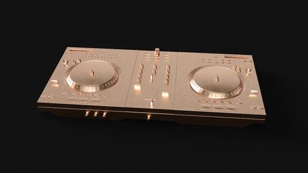 Brass DJ Decks 3d illustration 3d rendering