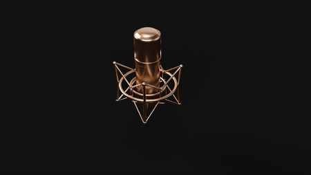 Brass Microphone 3d illustration 3d rendering Stock Photo
