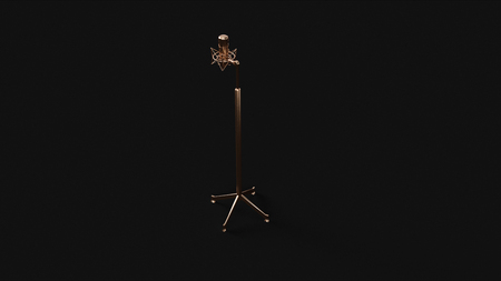 Brass Microphone and Stand 3d illustration 3d rendering