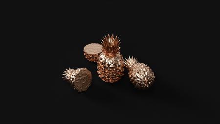 Brass Pineapple 3d illustration 3d rendering