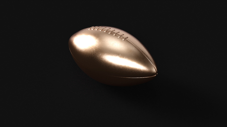 Brass American Football Rugby Ball 3d illustration 3d rendering Stock Photo