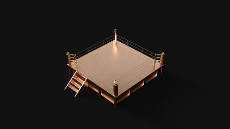 Brass Boxing Ring 3d illustration 3d rendering
