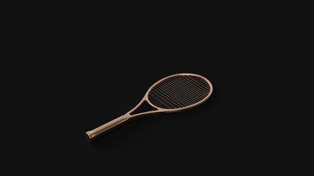 Brass Tennis Racket 3d illustration 3d rendering