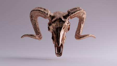 Brass Ram Skull 3d illustration 3d rendering