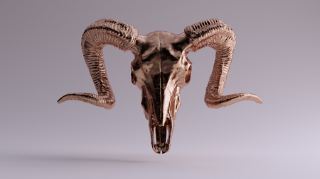 Brass Ram Skull 3d illustration 3d rendering