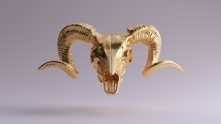 Gold Ram Skull 3d illustration 3d rendering