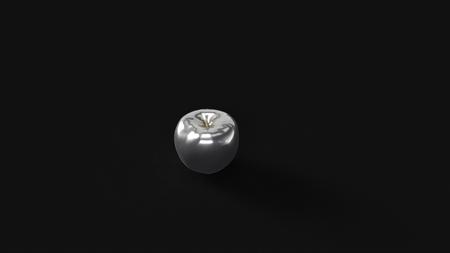 Silver Apple 3d illustration 3d rendering