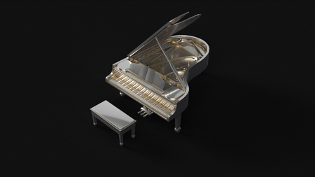 Silver Grand Piano 3d illustration 3d rendering