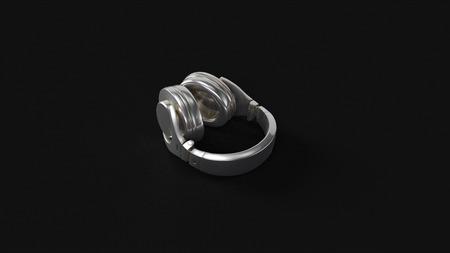 Silver Headphones 3d illustration 3d rendering Stock Photo