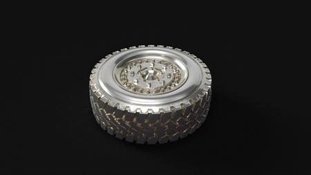 Silver Truck Wheel 3d illustration 3d rendering