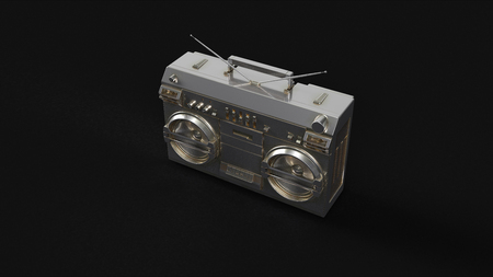 Silver Boombox stereo 3d illustration 3d rendering Stock Photo