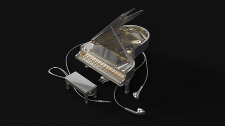 Silver Grand Piano and Ear Buds 3d illustration 3d rendering