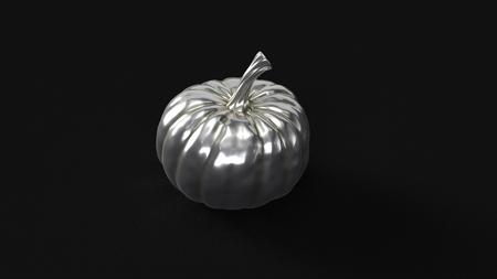 Silver Pumpkin 3d illustration 3d rendering