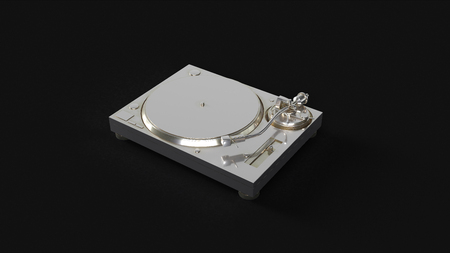 Silver Turntable Record Player 3d illustration 3d rendering