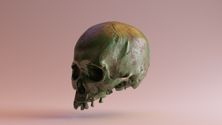 Green Painted Rusty Skull 3d illustration 3d rendering