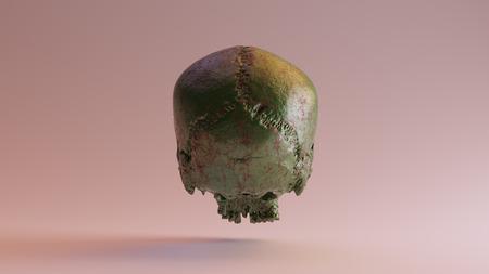 Green Painted Rusty Skull 3d illustration 3d rendering