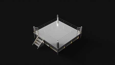 Silver boxing ring 3d illustration 3d rendering Stock Photo