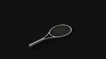 Silver Tennis Racket 3d illustration 3d rendering