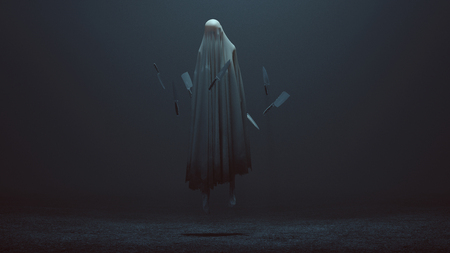 Floating Evil Spirit in a foggy void with Floating knifes 3d Illustration 3d Rendering Reklamní fotografie