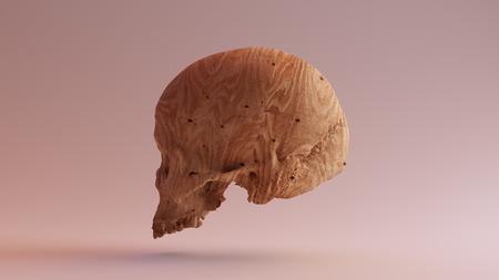 木材の頭蓋骨を刻まれた 3 d イラスト 3 d レンダリング scsuvizlab - (CC 帰属)