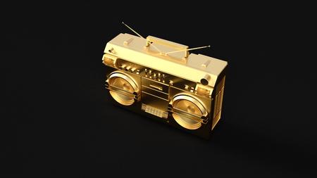 ゴールドブームボックス3Dイラスト3Dレンダリング