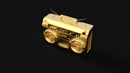 Gold Boombox 3d illustration 3d rendering
