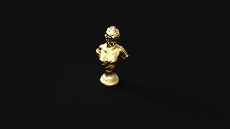 ゴールドバストスタチュー3Dイラスト3Dレンダリング