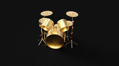 ゴールドドラムキット3Dイラスト3Dレンダリング