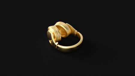 Gold Headphones 3d illustration 3d rendering
