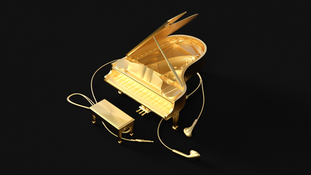 Gold Grand Piano an Ear Buds 3d illustration 3d rendering