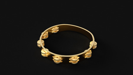 ゴールド タンバリン 3D イラスト 3D レンダリング