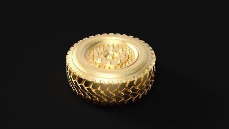 ゴールドトラックホイール3Dイラスト3Dレンダリング