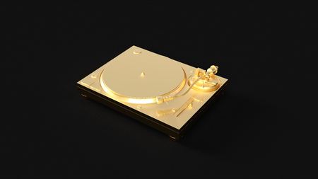 Gold Turntable Record Player 3d illustration 3d rendering