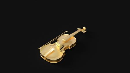 ゴールドヴァイオリン3Dイラスト3Dレンダリング