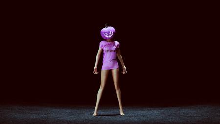 ピンクの3Dイラスト3Dレンダリングでセクシーなカボチャの女王