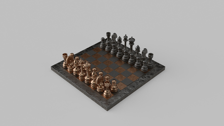 Brass and Iron chessboard and pieces 3d illustration 3d rendering