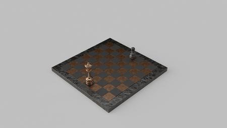 真鍮と鉄のチェスボードとピース3Dイラスト3Dレンダリング