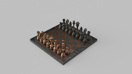 Fools Mate Move 01 Brass and Iron Chessboard and Pieces Two-Move Checkmate 3d illustration