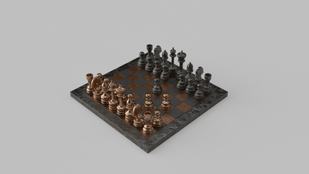 Fools Mate Move 03 Brass and Iron Chessboard and Pieces Two-Move Checkmate 3d illustration Reklamní fotografie