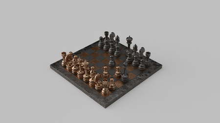 Fools Mate Move 04 Checkmate Brass and Iron Chessboard and Pieces Two-Move Checkmate 3d illustration