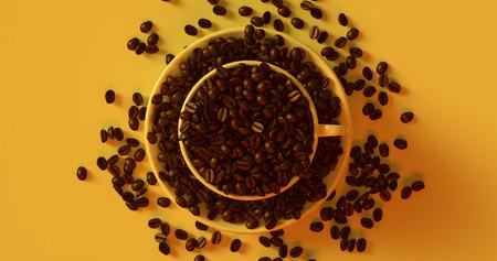 イエローコーヒーカップコーヒー豆3Dイラスト満載のソーサー