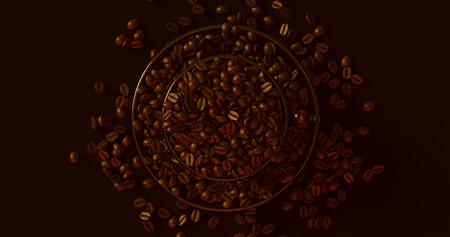 ブラックコーヒーカップコーヒー豆3Dイラスト満載のソーサー 写真素材