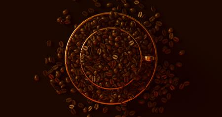 真鍮ゴールドコーヒーカップコーヒー豆3Dイラスト満載のソーサー 写真素材