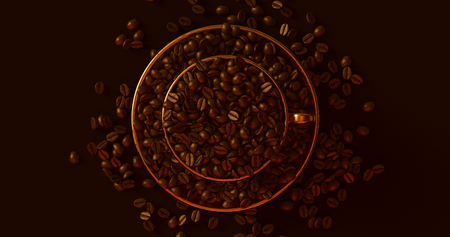Brass Gold Coffee Cup an Saucer Full Of Coffee Beans 3d illustration Reklamní fotografie